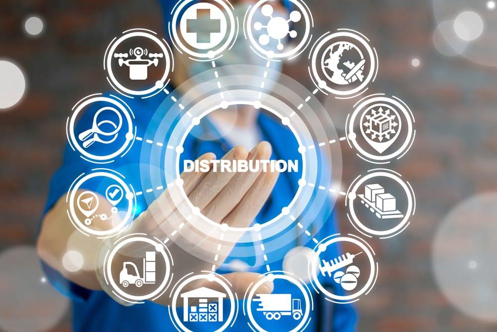 Distribution Medical Procurement Management Concept. Healthcare Hospital Pharmacy Goods Logistics Supply Chain.